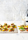 Date, blue cheese and pancetta polenta stacks
