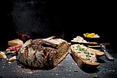 Crusty bread with crackling lard