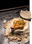 Herb chicken in a salt crust