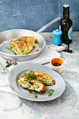 Rolled omelette with a chive dressing