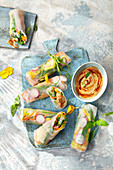 Crispy summer rolls with a soya and chilli mayonnaise