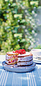 Peach and red berry ice cream cake