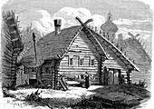 Russian village, 19th century illustration