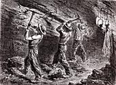 Coal mining, 19th century illustration