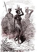 Nuer people, 19th Century illustration