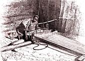 Cotton weaver in Somalia, 19th Century illustration