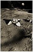 Luna 9 lander on the Moon