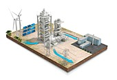 Renewable energy storage, illustration