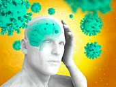 Covid-19 virus infecting the brain, illustration