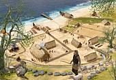 Viking village in Spring, illustration