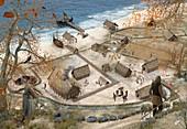 Viking village in Winter, illustration