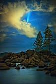 Comet Neowise over Lake Tahoe, Nevada, USA