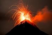 Volcan de Fuego erupting at night, Guatemala