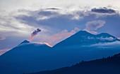 Volcan de Fuego and Acatenango at dusk, Guatemala