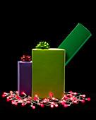 Christmas presents with Christmas lights