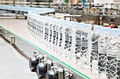 Bottles on conveyor belt in factory