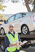 Confident roadside mechanic