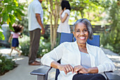 Senior woman on patio
