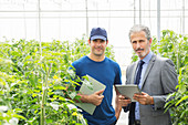 Business owner and worker in greenhouse
