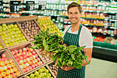 Clerk carrying produce
