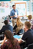 Teacher talking to teenage students