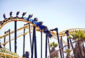 People on amusement park ride