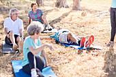 Senior adults practicing yoga