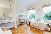 Bathroom with parquet floors