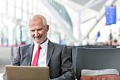 Businessman working using laptop