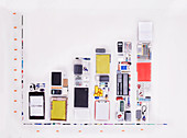Concept office supplies forming bar chart