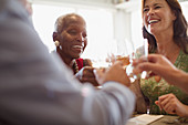 Smiling mature women drinking wine, dining