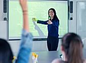 Science teacher leading lesson