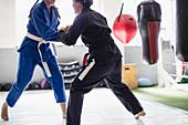 Women practicing jiu-jitsu in gym