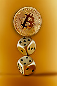 Golden Bitcoin and dice