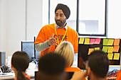 Hacker coding at hackathon