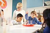 Teacher and students using pipette and beakers