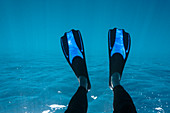 Woman with flippers snorkelling