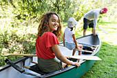 Portrait girl in canoe