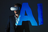Businessman with VR simulator glasses against AI text