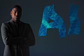 Confident businessman and AI text