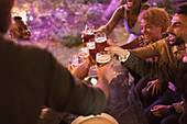 Friends toasting beer glasses at garden party