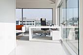 Sunny, modern, urban office
