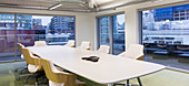 Conference table in modern, urban conference room