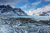 Tranquil snow covered mountains Vareid Lofoten Norway