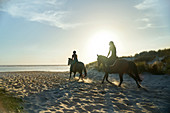 Young women horseback riding on sunny idyllic ocean beach