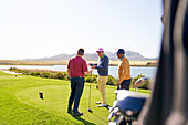 Male golfers talking at tee box on sunny golf course