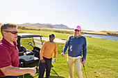 Happy male golfer friends on sunny golf course