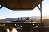 Group looking at view off-road vehicle South Africa