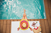Woman in sun hat relaxing at summer poolside