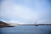 Ship sailing on Atlantic Ocean Greenland